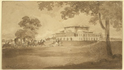 A carriage with three outriders approaching Barrackpore House